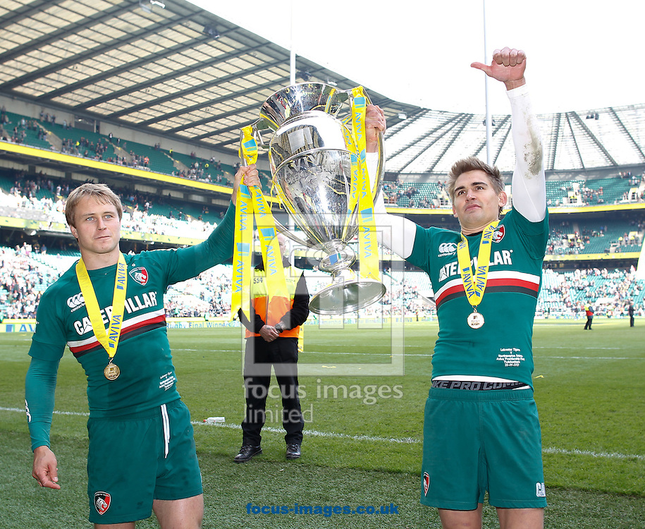 Picture by Andrew Tobin/Focus Images Ltd +44 7710 761829.25/05/2013. Matthew Tait (L) and Toby Flood (R) with the trophy after beating Northampton during the Aviva Premiership match at Twickenham Stadium, Twickenham.
