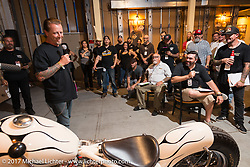 Custom builder Jeff Cochran in the In Motion invitational bike show build to other builders and judges during the Lone Star Rally. Galveston, TX. USA. Friday November 3, 2017. Photography ©2017 Michael Lichter.