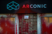 Birmingham, United Kingdom, June 14, 2021: Arconic admin offices appears to be pelted in red paint, after Palestine Action activists stormed the site on Monday, June 14, 2021. Some of them climbed the roof and occupied the building also one of them chained themselves outside the main entry gate of the factory. Arconic is an American industrial company specializing in lightweight metals engineering and manufacturing known as Arconic in Bermingham on Monday, June 14, 2021.  (Photo by Vudi Xhymshiti)