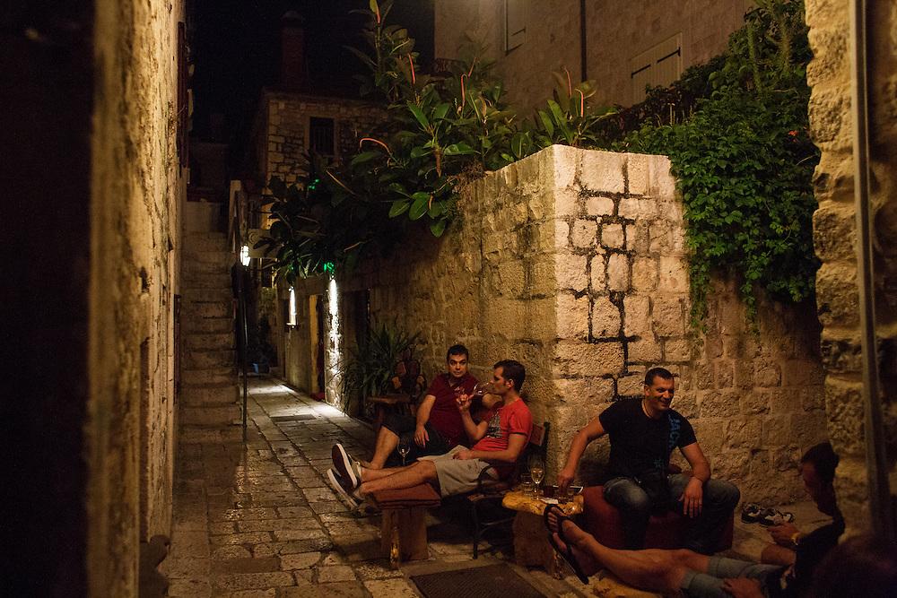 Travel in Croatia<br /> <br /> Outside of the Tri Prsuta wine bar in Hvar town on Hvar Island.<br /> <br /> June 2013<br /> Matt Lutton