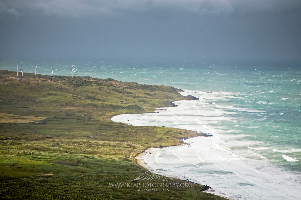 An optimal day for the Bluff Wind farm to generate electricity to local homes, Southland, New Zealand