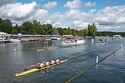 Henley-On-Thames, Berkshire, UK., Sunday, 15.08.21,  Leander Club, passing the Stewards Enclosure to win the Queen Mother Challenge Cup, in Elite Quadruple Sculls, beating a crew from, University College, Cork and Skibbereen Rowing Club Ireland,  2021 Henley Royal Regatta,  [ Mandatory Credit © Peter Spurrier/Intersport Images],