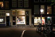 Shop front of Boekhandel Xantippe Unlimited bookshop in Prinsengracht, Amsterdam, Holland