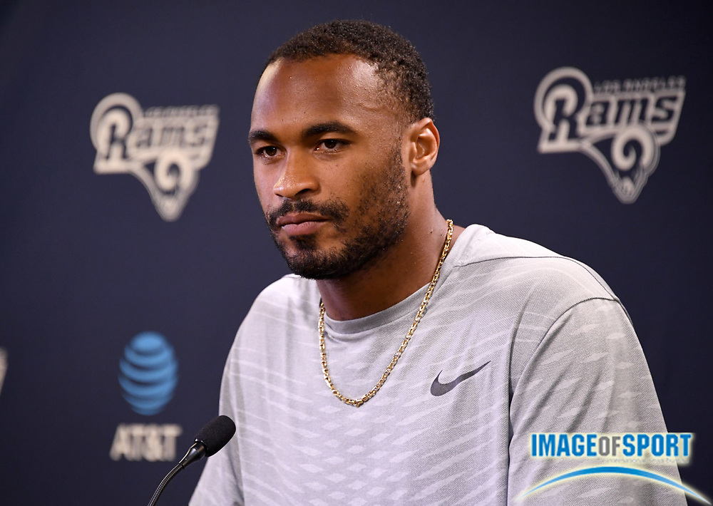 Los Angeles Rams receiver Robert Woods speaks at press conference at Cal Lutheran.