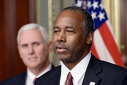 Ben Carson speaks after being sworn in to be secretary of housing and urban development by Vice President Mike Pence on March 2, 2017 in Washington, DC. Photo by Olivier Douliery/ Abaca