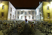 Cyclist Searching for Bike - Paris Brest Paris ultra-endurance cycling event - 2:52 AM - school yard in Loudeac, France