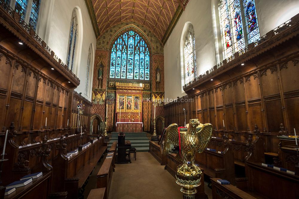 View of the interior of Queens College Chapel, Cambridge University, England.