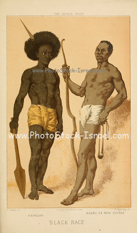 Papouan [Papuan] Negro of New Guinea Hand painted engraving on wood From The human race by Figuier, Louis, (1819-1894) Publication in 1872 Publisher: New York, Appleton