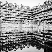 Barbican has a quirky beauty...reflections on a cloudy evening.