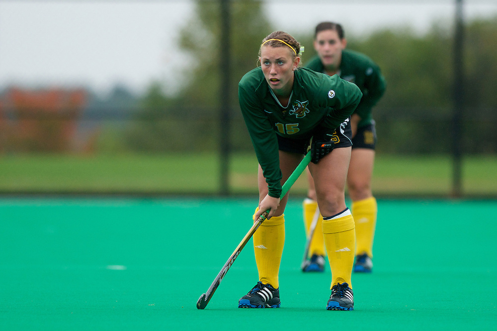 Catamounts midfielder Aria Robinson (15) in action during the women's field hockey game between the Maine Black Bears and the Vermont Catamounts at Moulton/Winder Field on Saturday afternoon September 29, 2012 in Burlington, Vermont.