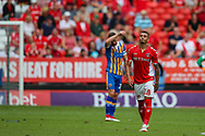 Goal scorer Charlton Athletic forward Karlan Ahearne-Grant (18) during the EFL Sky Bet League 1 match between Charlton Athletic and Shrewsbury Town at The Valley, London, England on 11 August 2018.