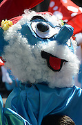 Israel, Holon, Purim Parade and procession Smurf float March 2012