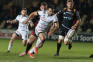 Thomas Laranjeira of Brive chases his chip past Thomas Davies  and Lewis Evans of the Newport Gwent Dragons and goes on to score his try. European Challenge cup pool 3 match, Newport Gwent Dragons v Brive, at Rodney Parade in Newport, South Wales on Friday 14th October 2016.<br /> pic by  Simon Latham, Andrew Orchard sports photography.