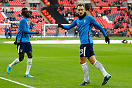 Tottenham Hotspur midfielder Christian Eriksen (23) warms up before kick off during the Premier League match between Tottenham Hotspur and West Bromwich Albion at Wembley Stadium, London, England on 25 November 2017. Photo by Andy Walter.
