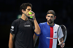 Poland's Lukasz Kubot (right) and Brazil's Marcelo Melo during their doubles match during day two of the NITTO ATP World Tour Finals at the O2 Arena, London. PRESS ASSOCIATION Photo. Picture date: Monday November 13, 2017. Photo credit should read: John Walton/PA Wire. RESTRICTIONS: Editorial use only, No commercial use without prior permission