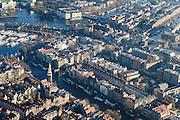 Nederland, Noord-Holland, Amsterdam, 11-12-2013; Nieuwmarktbuurt met Montelbaanstoren aan de Oudeschans. Verder in beeld PH-Kade (Prins Hendrikkade), Binnenkant en Oude Waal, Recht Boomssloot en Krom Boomssloot.<br /> Nieuwmarkt district (quarter) with Montelbaan tower.<br /> luchtfoto (toeslag op standaard tarieven);<br /> aerial photo (additional fee required);<br /> copyright foto/photo Siebe Swart.