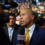 Deval Patrick being interviewed on the floor at the 2012 Democratic National Convention.