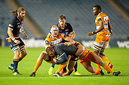 Rory Sutherland (#1) of Edinburgh Rugby is tackled by JP du Preez (#5) of Toyota Cheetahs during the Guinness Pro 14 2018_19 match between Edinburgh Rugby and Toyota Cheetahs at BT Murrayfield Stadium, Edinburgh, Scotland on 5 October 2018.