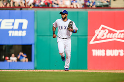 March 29, 2018 - Arlington, TX, U.S. - ARLINGTON, TX - MARCH 29: Texas Rangers shortstop Elvis Andrus (1) trots into the dugout between innings during the game between the Texas Rangers and the Houston Astros on March 29, 2018 at Globe Life Park in Arlington, Texas. Houston defeats Texas 4-1. (Photo by Matthew Pearce/Icon Sportswire) (Credit Image: © Matthew Pearce/Icon SMI via ZUMA Press)