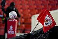 A general view of corner flag and match football during the FA Cup 5th round match between Barnsley and Chelsea at Oakwell, Barnsley, England on 11 February 2021.