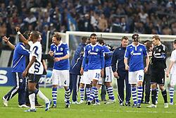 13.04.2011, Veltins Arena, Gelsenkirchen, GER, UEFA CL Viertelfinale, Rueckspiel, FC Schalke 04 (GER) vs Inter Mailand (ITA), im Bild: Zufriedene Schalker GEsichter. von links:  Benedikt Hoewedes (Schalke #4), Joel Matip (Schalke #32), Christoph Metzelder (Schalke #21) und Manuel Neuer (Schalke #1)  EXPA Pictures © 2011, PhotoCredit: EXPA/ nph/  Mueller       ****** out of GER / SWE / CRO  / BEL ******