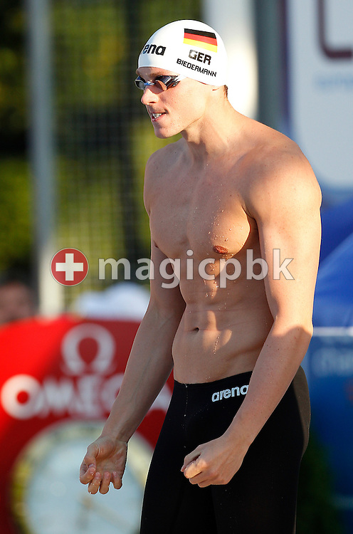 Paul BIEDERMANN of Germany prepares himself before competing in the men's 200m Freestyle Semifinal 2 at the European Swimming Championship at the Hajos Alfred Swimming complex in Budapest, Hungary, Tuesday, Aug. 10, 2010. (Photo by Patrick B. Kraemer / MAGICPBK)