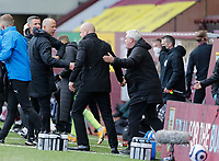 Football - 2020 / 2021 Premier League - Burnley vs. Newcastle United<br /> <br /> Newcastle United manager Steve Bruce is congratulated by Burnley manager Sean Dyche and his assistant Ian Woan at full time after Newcastle United won 2-1, at Turf Moor.<br /> <br /> <br /> COLORSPORT/ALAN MARTIN