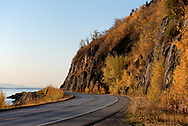 Fall colors adorn the highway along the Turnagain Arm near Anchorage, Alaska