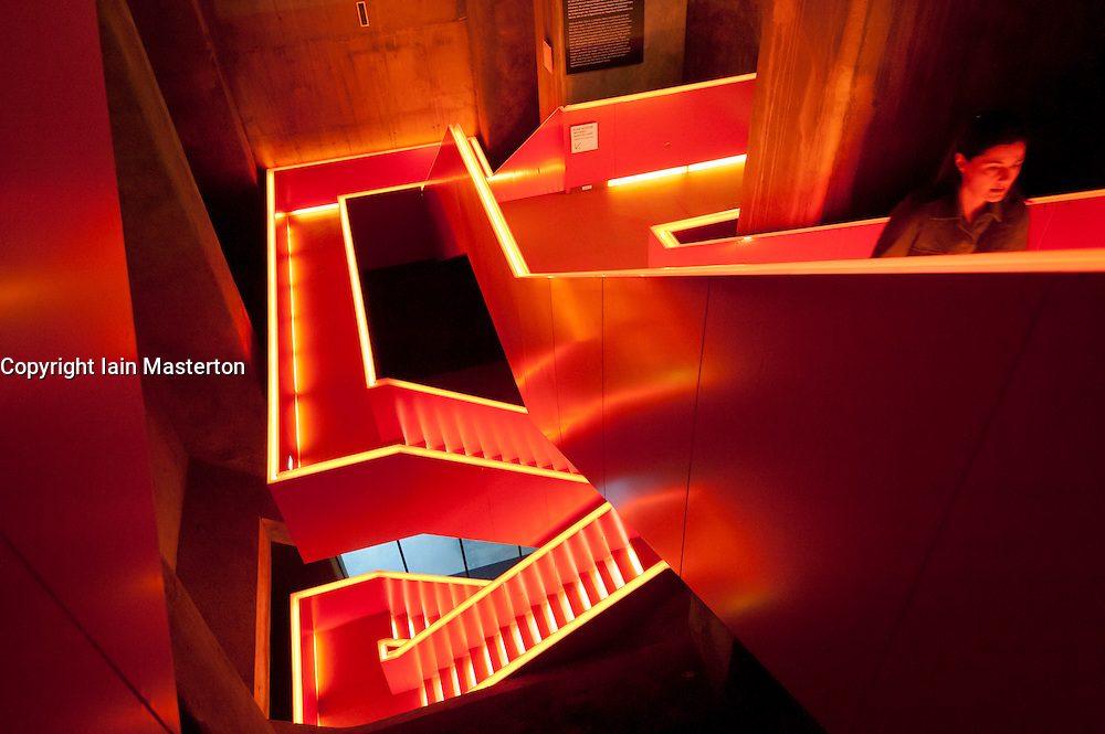 Internal stairs with red lighting at UNESCO  Zollverein museum in former coal mine in Essen Germany