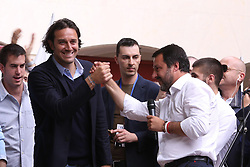 Italy, Modena  - May 3, 2019.Italians First..Matteo Salvini, leader of Lega Nord party and Minister of Internal Affairs campaigning for the local Mayor candidate of the Northern League (Lega Nord) party STEFANO PRAMPOLINI..From left Luca Toni and Matteo Salvini (Credit Image: © Brancolini/Fotogramma/Ropi via ZUMA Press)