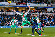 Wycombe Wanderers forward Adebayo Akinfenwa(20) heads towards goal during the EFL Sky Bet League 1 match between Wycombe Wanderers and Plymouth Argyle at Adams Park, High Wycombe, England on 26 January 2019.