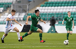 Republic of Ireland's Liam Kerrigan and Luxembourg's Franz Sinner (left) battle for the ball during the UEFA Under-21 Championship Qualifying Round Group F match at the Tallaght Stadium, Dublin. Picture date: Friday October 8, 2021.