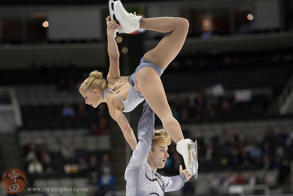 January 4, 2018; San Jose, CA, USA; Nica Digerness and Danny Neudecker perform in the pairs short program during the 2018 U.S. Figure Skating Championships at SAP Center.