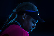 Serena Williams of the U.S. sits on her bench during a break between games while playing Japan's Naomi Osaka in a semifinal match during the 2021 Australian Open at Melbourne Park in Melbourne, Australia.