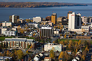 Anchorage the largest city in Alaska on the shores of Cook Inlet overlooking the Alaska and Chugach mountain ranges has a population of 275,000 people,