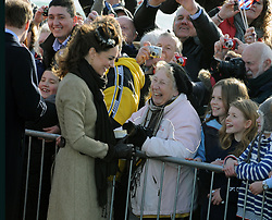 Kate Middleton officially launches the new RNLI's lifeboat 'Hereford Endeavour' at Trearddur Bay, Anglesey on February 24, 2011 in Trearddur, Wales.