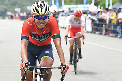 May 26, 2018 - Izu, Shizuoka, Japan - Chinese rider Meiyin Wang from Bahrain - Merida Team at the finish line of Izu stage, 120.8km on Izu-Japan Cycle Sports Center Road Circuit, the seventh stage of Tour of Japan 2018. .On Saturday, May 26, 2018, in Izu, Shizuoka Prefecture, Japan. (Credit Image: © Artur Widak/NurPhoto via ZUMA Press)
