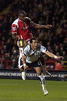 Photo: Olly Greenwood.<br />Charlton Athletic v Fulham. The Barclays Premiership. 27/12/2006. Charlton's Darren Bent and Fulham's Liam Rosenior