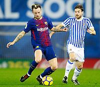 Real Sociedad's Asier Illarramendi (r) and FC Barcelona's Ivan Rakitic during La Liga match. January 14,2018. (ALTERPHOTOS/Acero)