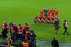 CARDIFF, WALES - Tuesday, October 13, 2015: Wales' players line up for a team group photograph before the UEFA Euro 2016 qualifying Group B match against Andorra at the Cardiff City Stadium. Back row L-R: James Chester, goalkeeper Wayne Hennessey, captain Ashley Williams, Hal Robson-Kanu, Sam Vokes. Front row L-R: Gareth Bale, Ben Davies, Chris Gunter, Aaron Ramsey, David Vaughan, Jonathan Williams. (Pic by Paul Currie/Propaganda)