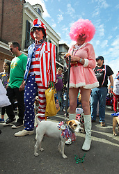 31 January 2016. New Orleans, Louisiana.<br /> Mardi Gras Dog Parade. A Jack Russell and his patriotic owners in costume at the Mystic Krewe of Barkus as the parade winds its way around the French Quarter with dogs and their owners dressed up for this year's theme, 'From the Doghouse to the Whitehouse.' <br /> Photo©; Charlie Varley/varleypix.com