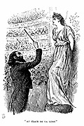 Trilby the tone-deaf ?!   ?.who couldn't tell a C from an F!!' giving a concert under Svengali's hypnotic influence. Illustration by George Du Maurier for his novel 'Trilby', London, 1894.