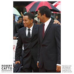 Actors Temuera Morrison and Cliff Curtis at the premiere of the film River Queen, in Wanganui, New Zealand.