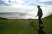 ALL FOR FOR IRISH OPEN AT BALLYBUNION....Graeme Heinrich measures the tee to green yardage and ensures the players and caddies have an absolute distance to the pin  in the run up  to this week's Murphy's Irish Open which begins on Wednesday..Picture by Don MacMonagle