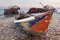 Small fishing boat pulled ashore, Punto San Jacinto, Baja, Mexico