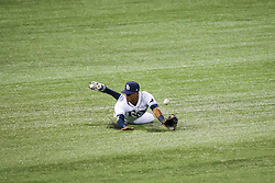 July 25, 2017 - St. Petersburg, Florida, U.S. - WILL VRAGOVIC       Times.Tampa Bay Rays center fielder Mallex Smith (0) misses the single by Baltimore Orioles left fielder Joey Rickard (23) in the fifth inning of the game between the Baltimore Orioles and the Tampa Bay Rays at Tropicana Field in St. Petersburg, Fla. on Tuesday, July 25, 2017. (Credit Image: © Will Vragovic/Tampa Bay Times via ZUMA Wire)