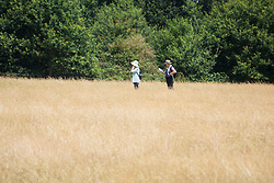 © Licensed to London News Pictures. 04/07/2018. London, UK. Walkers make their way through scorched, dry grass in Richmond Park as the heatwave continues. Photo credit: Peter Macdiarmid/LNP