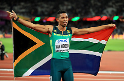 South Africa's Wayde van Niekerk celebrates winning silver in the Men's 200m Final during day seven of the 2017 IAAF World Championships at the London Stadium. PRESS ASSOCIATION Photo. Picture date: Thursday August 10, 2017. See PA story ATHLETICS World. Photo credit should read: Adam Davy/PA Wire. RESTRICTIONS: Editorial use only. No transmission of sound or moving images and no video simulation.
