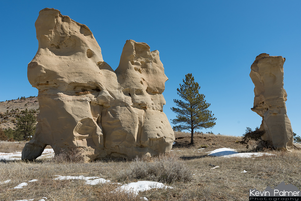 While driving the backroads through the Custer National Forest I came across some interesting sandstone formations.