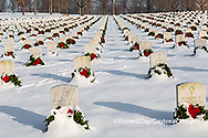 65095-03020 Wreaths on graves in winter Jefferson Barracks National Cemetery St. Louis,  MO